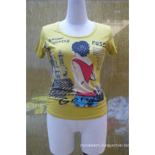 Ladies Tee Shirt, Heat Transfer Printing Tee Shirt