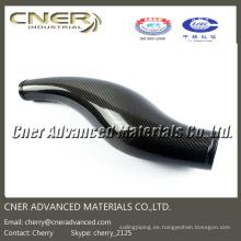 La fibra de carbono 3D formó las piezas, tubo de entrada de aire brillante / mate mate de la fibra de carbono 3K para el automóvil