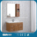 Gabinete de banheiro de madeira maciça montada na parede com pia