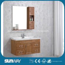 Gabinete de baño de madera maciza montado en la pared con el fregadero