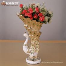 2016 fábrica de abastecimento de decoração natal natal decoração de alta qualidade vaso de resina de pavão para decoração de casa