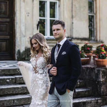 Champagner Spitze Meerjungfrau Prom Party Formale Braut Hochzeit Kleid