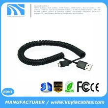 Hochwertiger Frühling Coiled USB 2.0 A bis Micro USB B Stecker auf männlich Data Charge Einziehbares Kabel 1m