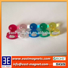 small middle large 3 kinds of size's plastic magnet pin for sale/colourful neodymium magnet plastic pot for sale