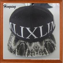 Fashion Custom Leather Brim Snapback Hat