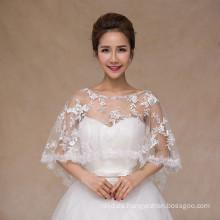 El cordón de moda de la venta caliente appliques el mantón nupcial blanco del cordón de la boda