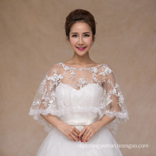 Hot sale fashionable lace appliques white bridal wedding lace shawl