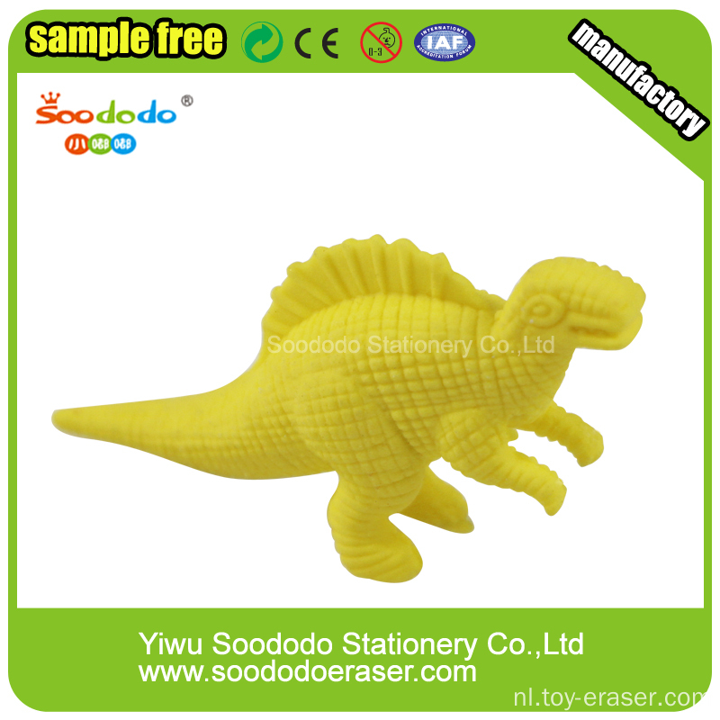 Yellow Dinosaur Shaped Eraser, Rubber Dinosaur speelgoed gum