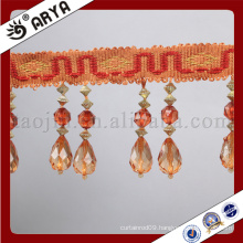 simple design beaded and cloth belt fringe and tassel for curtain decoration and other home textile