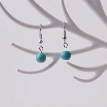 Boucle d'oreille en perles Turquoise 8MM avec argent 925