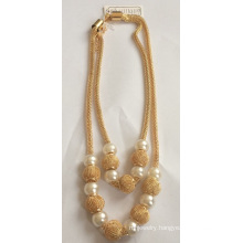 Double Metal Necklace with Pearl