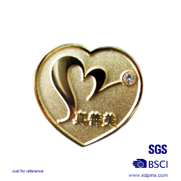 Die Struck Lover Heart Lapel Pin Crytal Badge Couple Lapel Pin