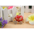 Creative cute pumpkin car Keychain for men and women 3D crystal car colorful enamel fashion keychain bag hanger wholesale