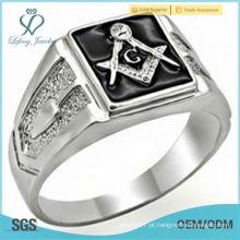 Novo Rhodium Overlay Black Mason Mason Ring
