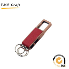 High Grade Blank Metal PU Leather Keychain with Three Rings