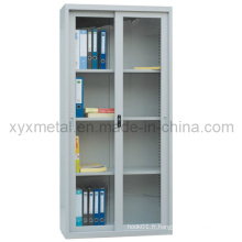 Portes coulissantes en verre Armoires de rangement de bureau en métal de construction en acier (GZ-201)