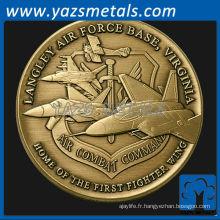 personnaliser une pièce de métal, la pièce de défilement de base de la Force aérienne de Langley, les badges