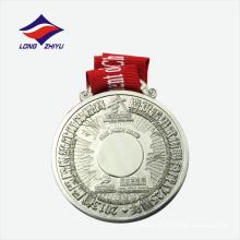 Medalla de plata de metal de recuerdo de aleación de zinc