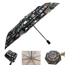 Auto Open 3 Fold Color Changing Umbrella
