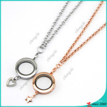 Plain Round Locket with Star Charms Necklace (FL16040832)