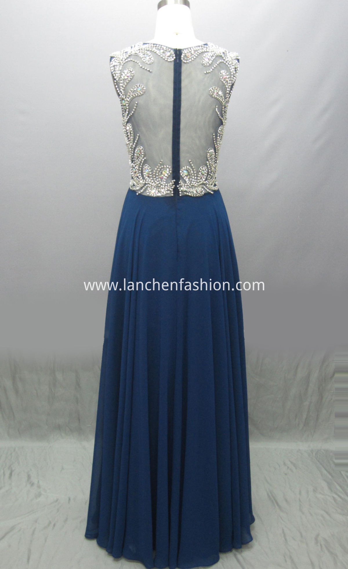Beaded Chiffon Dress back
