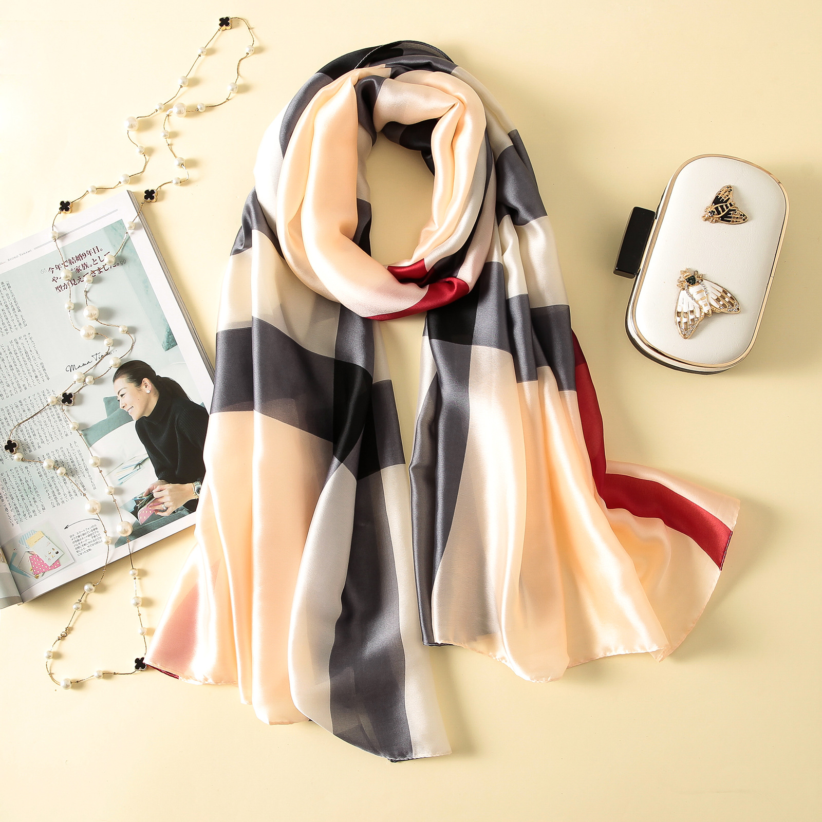 Imitation silk scarf sun block beach towel (2)