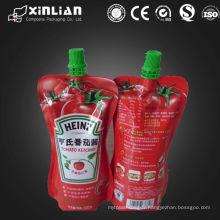Vente chaude de bec supérieure en stratifié en plastique ketchup pochette d'emballage / sac en plastique de ketchup