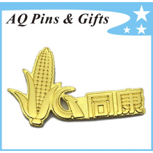 Metal Logo Emblem Gold Badge with Gritty Recessed Contrast (badge-168)
