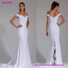 a- Line off The Shoulder Satin Wholesale Wedding Dress