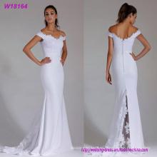 a - линия с плеча атласная Оптовая свадебное платье