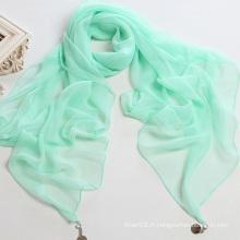 Châle en mousseline en mousseline de soie couleur pure