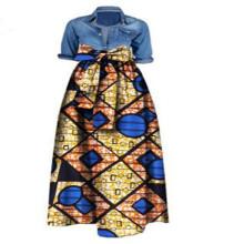 ethnic slim fit flora printed African fashion clothing high waist A line cotton jawa wax Dashiki women long swing skirt