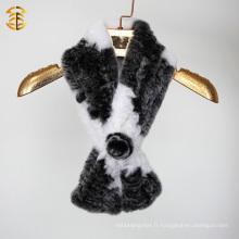 2016 Femmes hiver tricotée Rex lapin fourrure Snood et écharpe avec une fleur
