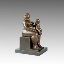 Statue de la figure de l'Est Gris Mère-Fils Sculpture en bronze TPE-645