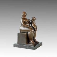 Eastern Figure Statue Fat Mother-Son Bronze Sculpture TPE-645
