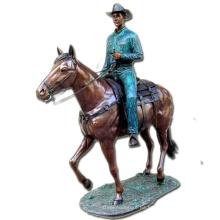 estatua del caballero de la escultura del hombre y del caballo de bronce