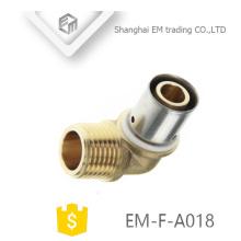EM-F-A018 Conector de compresión de conexión de tubería de codo de latón macho hilo