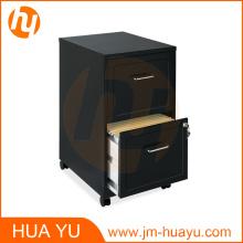Muebles de oficina de 18 pulgadas de profundidad Gabinete de archivo de 2 cajones en negro con ruedas (2 gabinetes)