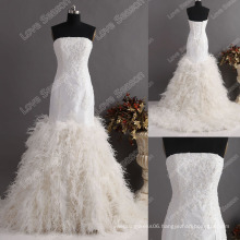 LS0121ostrich feather dress exquisite high quality wedding dress tight bodice corset back trumpet mermaid feather wedding dress