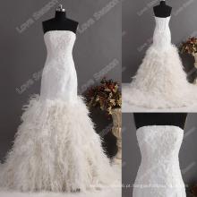 LS0121ostrich vestido de penas vestido de noiva requintado de alta qualidade vestido de casamento corpete apertado trompete vestido de noiva de pena de sereia