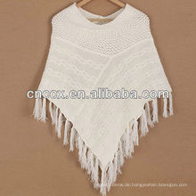 12STC0860 Wollmischung Damen Poncho Pullover