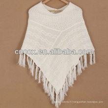 12STC0860 pull en laine mélangé poncho femmes