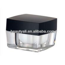 Square acrílico plástico cosméticos pote