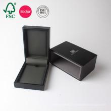Caja de regalo de lujo de la joyería de papel negro de encargo que empaqueta el fabricante de la cartulina de China