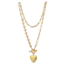 Fashion stainless steel chain heart pearl clavicle chain simple OT clasp choker heart box pendant necklace women