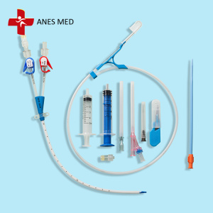 Temporary dialysis catheter set