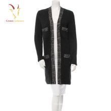 Hiver tricoté à la main long Cardigan 2016 femmes en laine épaisse chandail