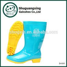 chaussures plates pour les femmes pvc bottes de pluie B-806