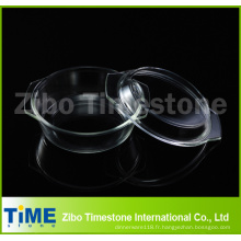 Casserole ronde de Boro Silicate0.7L avec la couverture dans le paquet en bloc