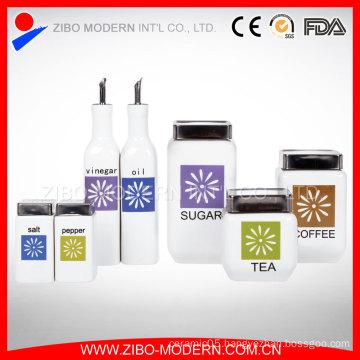 Ceramic Liquid Condiment Cruet Bottle/Ceramic White Bottle